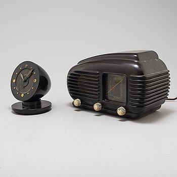 "TESLA, ""308U Talisman"", rörradio Tjeckoslovakien 1930-tal. Samt Bordsur Bakelit 1930-tal."