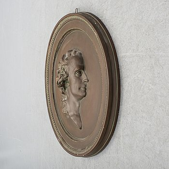 JOHAN TOBIAS SERGEL, efter, medaljong, gips, 1900-talets första hälft.