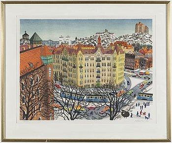 MONA HUSS WALIN, litografi, signerad och daterad 1948, numrerad 376/400.