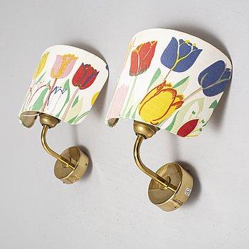 A pair of model 2143 wall lights by Josef Frank for Firma Svenskt Tenn, second half of the 20th century.