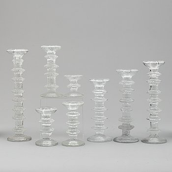 TIMO SARPANEVA, eight 'Festivo' glass candlesticks from Iittala, Finland.