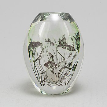 A glass vase by Edward Hald for Orrefors, mid 20th century.