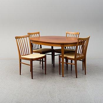 A second half of ht e20th century five piece dining suite by Carl Malmsten, Åfors Möbelfabrik.