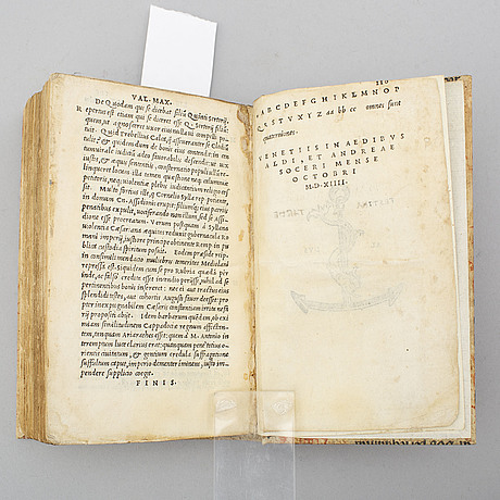 Book, second aldine edition of valerius maximus, 1514.