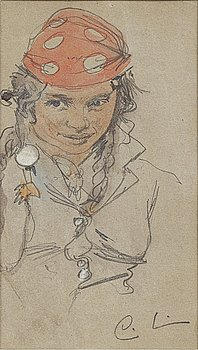 CARL LARSSON, pencil and watercolor on paper, signed.