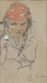 CARL LARSSON, blyerts och akvarell på papper, signerad.