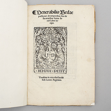 Book, important treatise by beda on chronology, 1507.