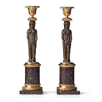 115. A pair of late Gustavian circa 1800 porphyry and gilt and patinated bronze candlesticks.