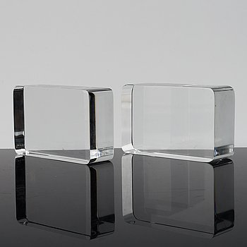 GUNNAR CYRÉN, a pair of glass bookends from Orrefors.