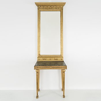 A MIRROR AND CONSOLE TABLE, gustavian style, first half of the 20th century.