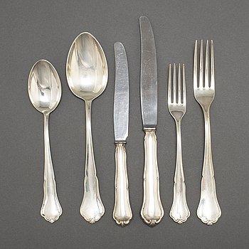"""CG HALLBERG, bestickservis, 51 delar, silver,""""Victoria"""", Stockholm bl a 1951."""