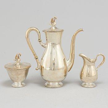 KAFFESERVIS, tre delar, silver, 1900-talets mitt.
