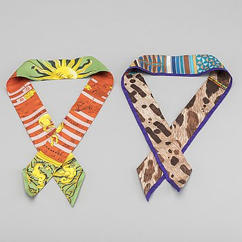 "HERMÉS, ""Twilly"", scarf, 2 st."
