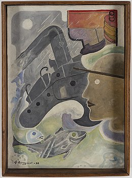GUNNAR BERGQVIST, oil on canvas, signed and dated -38.
