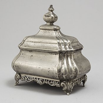 A German 18th century pewter casket and cover, possibly.