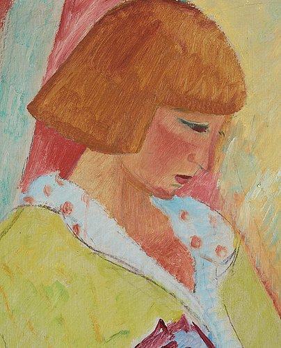 Sigrid hjertén, portrait depicting ida la cour, born enna.