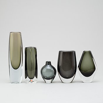 SVEN PALMQVIST, five glass vases from Orrefors.