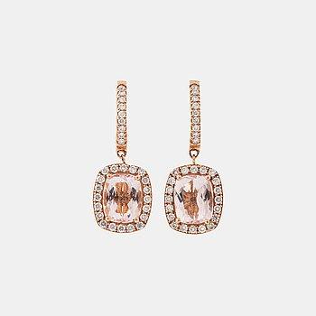 A pair of morganite and brilliant cut diamond earrings.