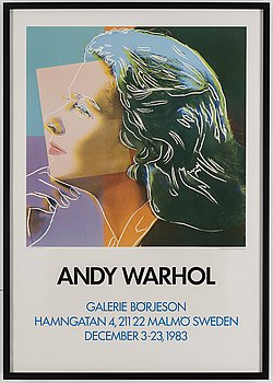 EXHIBITION POSTER, after Andy Warhol, Galerie Börjeson, Malmö, 1983.