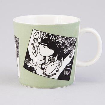 """MUMINMUGG, porslin, """"Mug grön"""", Arabia Finland 1990-1993."""