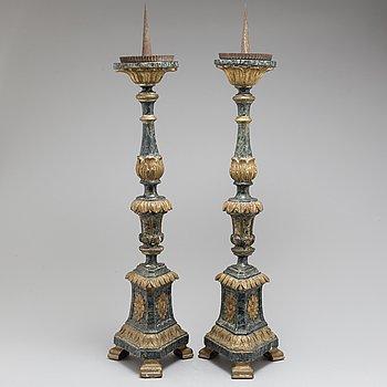 GOLVLJUSSTAKAR, ett par, 1600-/1700-tal.