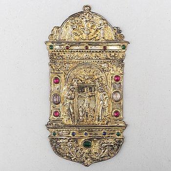 RESEALTARE/DEKORELEMENT, förgyllt silver, 1600-tal eller äldre.