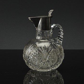 VINKANNA, silver och glas. ryska stämplar, omkring 1900.