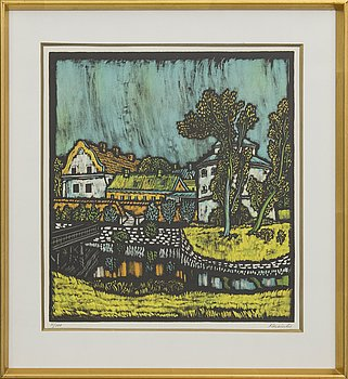 VYTAUTAS KASIULIS, a lithograph in color, signed and numbered 11/100.