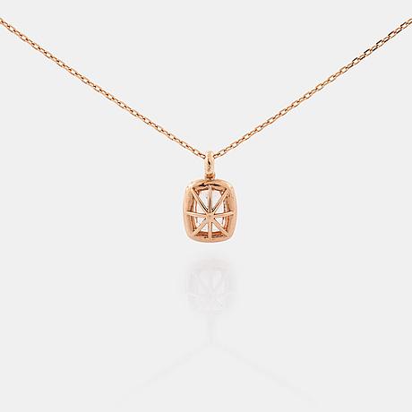 A morganite and brilliant cut diamond pendant.