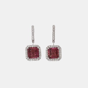 A pair of tourmaline and brilliant cut diamond earrings.