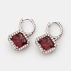 A pair of tourmaline and brilliant cut diamond earrings