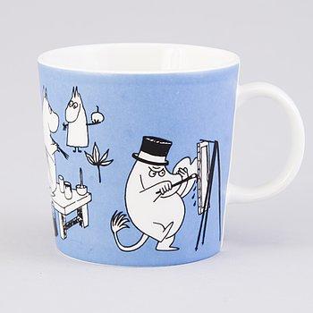 "MUMINMUGG, porslin, ""Mug blå"", Moomin Characters, Arabia 1990-1996."