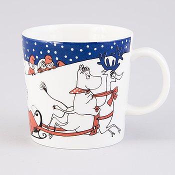 MOOMIN-MUG, porcelain, 'Christmas greeting', Moomin Characters, Arabia 1997-2002.