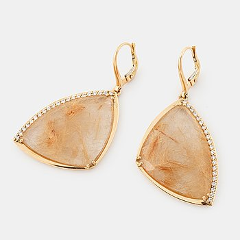 A pair of rutile quartz and brilliant cut diamond earrings.