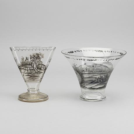 Josef lenhardt, a set of two handpainted glass vases