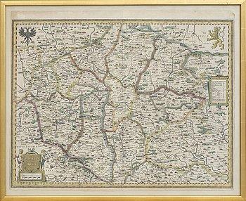KARTA - JADOCUS HONDIUS, 'Bohemia' (Böhmen), sannolikt 1631.