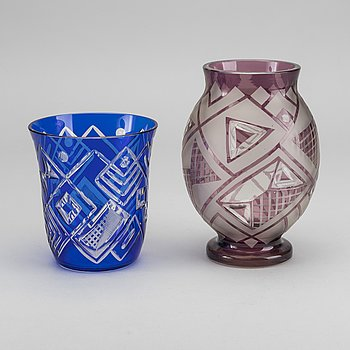 LOETZ, vaser 2 st Art Deco 1920-tal glass.