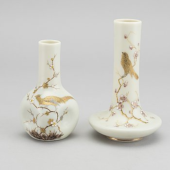 HARRACHOV GLASSFABRIK, a set of two painted glass vases around 1880.