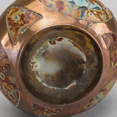 Josef knizek, an art nouveau glass and copper vase.