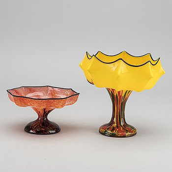 WILHELM KRALIK SOHNE, a set of two glass bowls Art Nouveau around 1910.