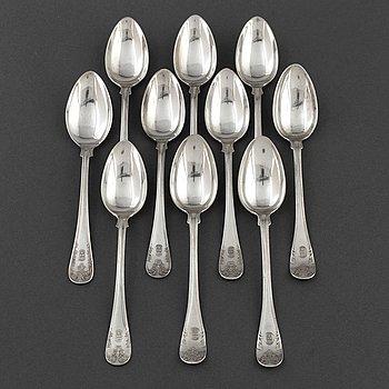 """SKEDAR, 10 st, silver, """"Gammal fransk"""", omkring år 1900."""