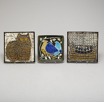 Three Lisa Larson stoneware wall reliefs, for Gustavsberg.