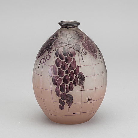 Verreries d'art lorrain, a signed acid etched and enamelled glass vase.