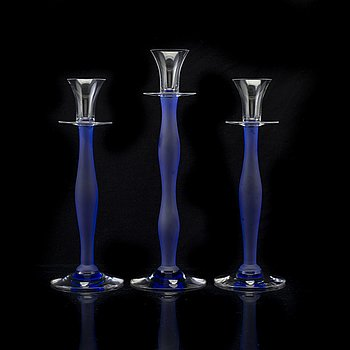 "3 pcs of candle lights ""Celeste"", by Anne Nilsson, Orrefors, late 20th century."