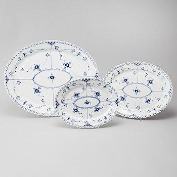 Three 20th century, porcelain 'Musselmalet' serving dishes by Royal Copenhagen, Denmark.