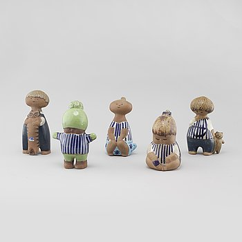 "LISA LARSON, 5 stoneware figurines from the series ""Larssons ungar"" for Gustavsberg."