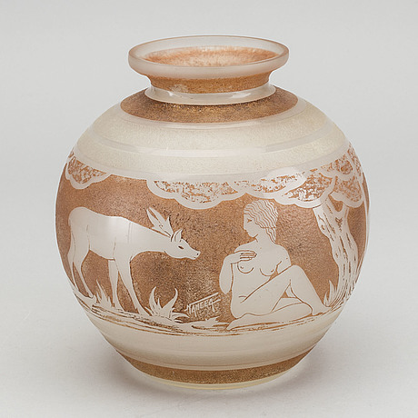 Nancea, an etched signed glass vase around 1920