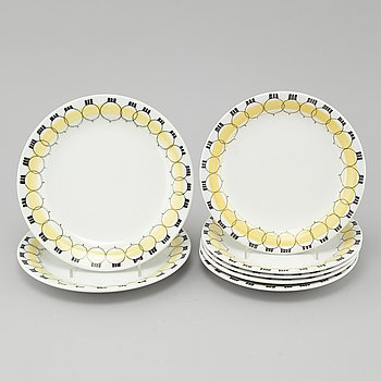 """MARIANNE WESTMAN, 7 plates """"Picknick"""" for Rörstrand."""