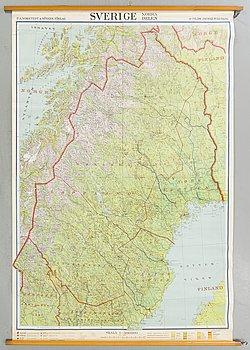"""SKOLKARTA, """" Norra Sverige""""P.A Norstedts och Söner, 1900-talets mitt."""