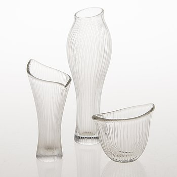 TAPIO WIRKKALA, Three line cut glass objects, signed Tapio Wirkkala Iittala, one dated -55.